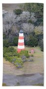 Lighthouse Aerial Near Jekyll Island Bath Towel