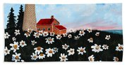Lighthouse And Daisies Hand Towel