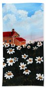 Lighthouse And Daisies Bath Towel