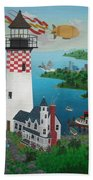 Lighthouse Fishing Bath Towel