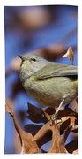 Lil' Bit - Orange-crowned Warbler Bath Towel