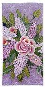 Lilac And Rose Bouquet Bath Towel