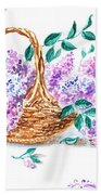 Lilac Vintage Impressionism Painting Bath Towel