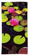 Lily Pads With Pink Flowers - Square Bath Towel