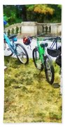 Line Of Bicycles In Park Hand Towel