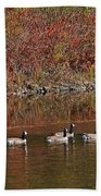 Line Of Geese On The Quinapoxet River Bath Towel