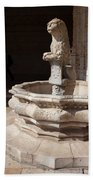 Lion Fountain Jeronimos Monastery In Lisbon Hand Towel
