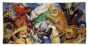 Lions Tigers And Leopard Hunt Homage To Rubens Bath Towel