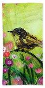 Little Bird In Green Bath Towel