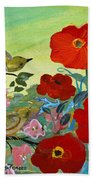 Little Birds And Poppies Bath Towel