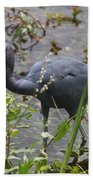Little Blue Heron - Waiting For Prey Bath Towel