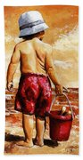 Little Boy On The Beach II Bath Towel