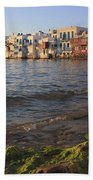Little Venice At Sunset Mykonos Town Cyclades Greece  Bath Towel