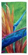 Lizard On Bird Of Paradise Bath Towel