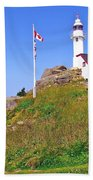Lobster Cove Lighthouse With Blue Sky In Gros Morne Np-nl Bath Towel