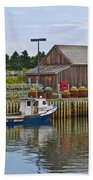 Lobster Fishing Baskets And Boats In Forillon Np-qc Bath Towel