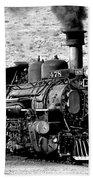 Locomotive Black And White Train Steam Engine Bath Towel