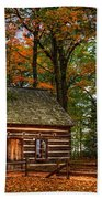 Log Cabin In Autumn Color Bath Towel