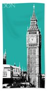 London Skyline Big Ben - Teal Bath Towel
