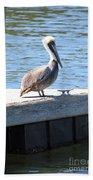 Lone Pelican On Pier Bath Towel