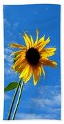 Lone Sunflower In A Summer Blue Sky Bath Towel