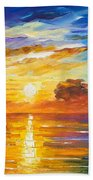 Lonely Sea 2 - Palette Knife Oil Painting On Canvas By Leonid Afremov Bath Towel