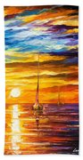 Lonely Sea 3 - Palette Knife Oil Painting On Canvas By Leonid Afremov Bath Towel