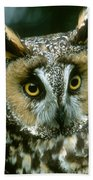 Long-eared Owl Up Close Bath Towel