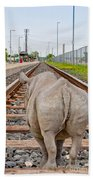 Rhino On A Railway Track Bath Towel