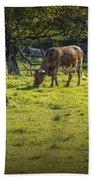 Longhorn Steer Herd In A Pasture Bath Towel