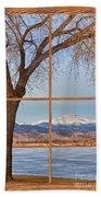 Longs Peak Winter Lake Barn Wood Picture Window View Bath Towel