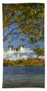 Loon Lake In Autumn With White Birch Tree Bath Towel