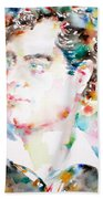 Lord Byron - Watercolor Portrait Bath Towel