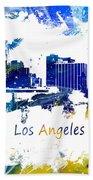 Los Angeles California Skyline Yellow Blue Hand Towel