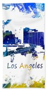 Los Angeles California Skyline Yellow Blue Bath Towel