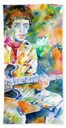 Lou Reed Playing The Guitar - Watercolor Portrait Bath Towel