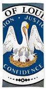 Louisiana State Seal Bath Towel