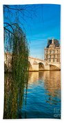 Louvre Museum And Pont Royal - Paris - France Bath Towel
