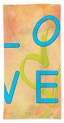 Love In Bright Blue Bath Towel