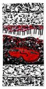 Love Music Memories Original Acrylic Painting  Bath Towel