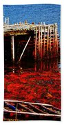 Low Tide - Red Seaweed - Fishing - Moratorium Bath Towel