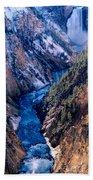 Lower Falls Into Yellowstone River Bath Towel