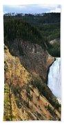 Lower Falls On The Yellowstone River Bath Towel
