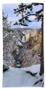 Lower Yellowstone Falls In October Bath Towel