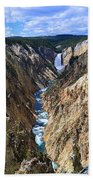 Lower Yellowstone Falls Panorama Bath Towel