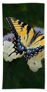 Luminous Butterfly On Lacecap Hydrangea Bath Towel