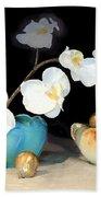 Luminous Watercolor Orchids Bath Towel