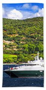 Luxury Yacht At The Coast Of French Riviera Bath Towel