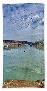 Lyme Regis Harbour -- Painterly Bath Towel