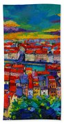 Lyon Panorama Triptych Bath Towel
